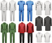 Set of white and colorful work clothes. Design template.