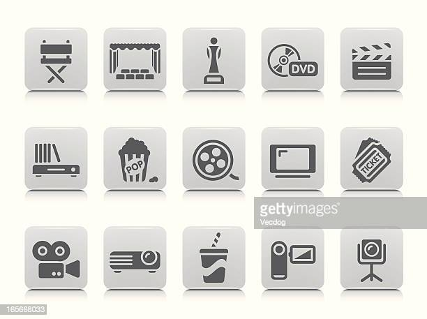 set of white and gray cinema themed icons - dvd stock illustrations