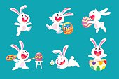 set of white easter rabbit in different poses