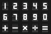 Set of white flip number and math symbol on black background