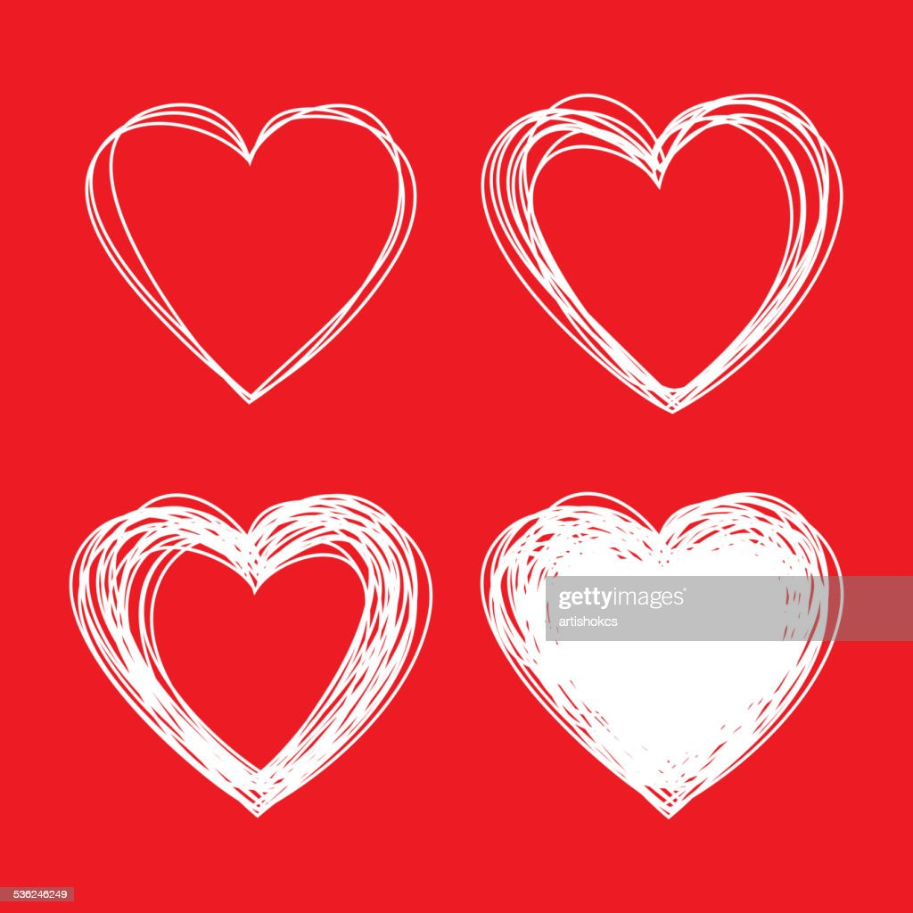 Set of White Hand Drawn Scribble Hearts, valentines day