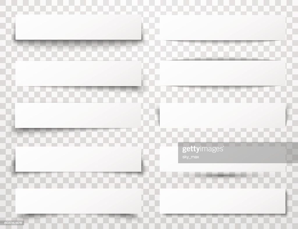 Set of white horizontal paper banners with different realistic shadows