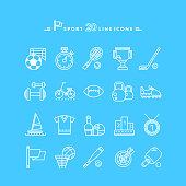 Set of White Icons Sport Equipment