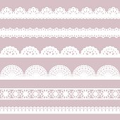 Set of white lace borders.
