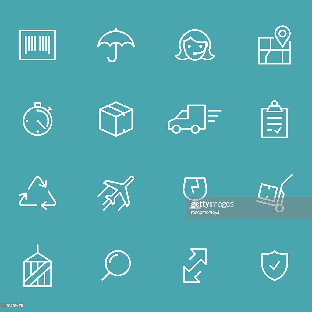 Set of white logistics icons on blue background