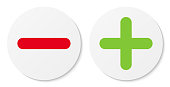 Set of white minus & plus signs icons, flat round buttons.