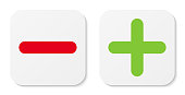 Set of white minus & plus signs icons, flat square buttons.