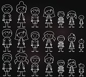 Set of white on black line vector smiling character people