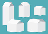Set of white open packing boxes on blue background. Vector illustration