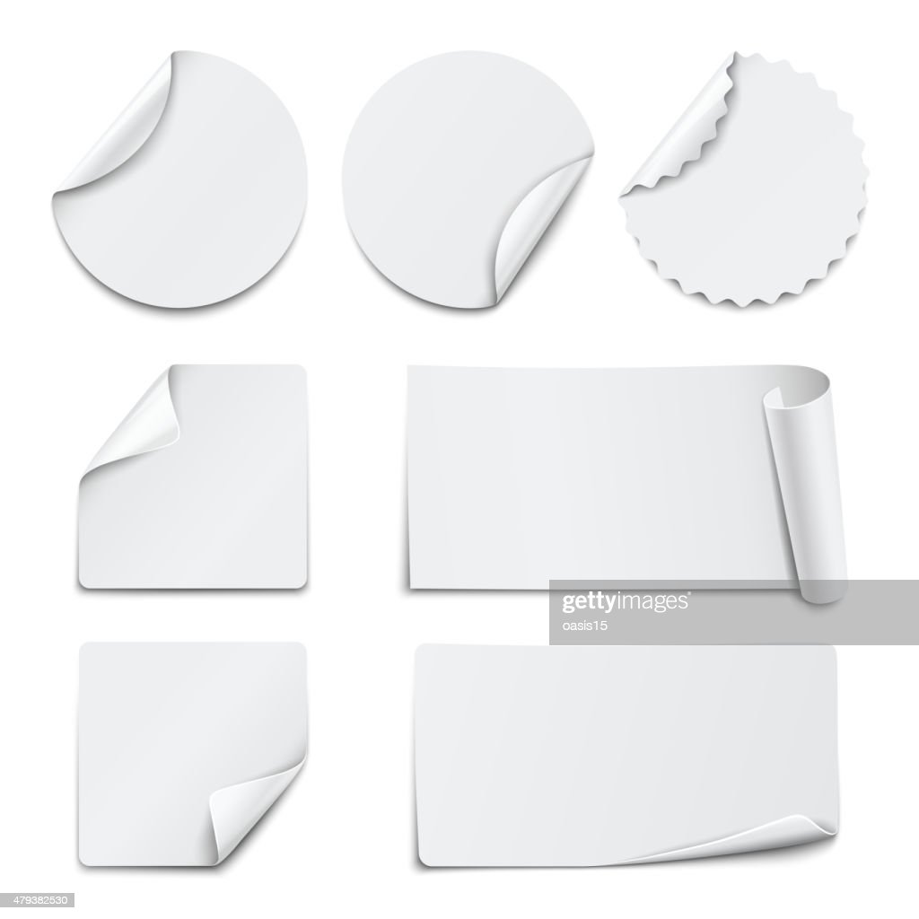 Set of white paper stickers on white background. Vector illustration