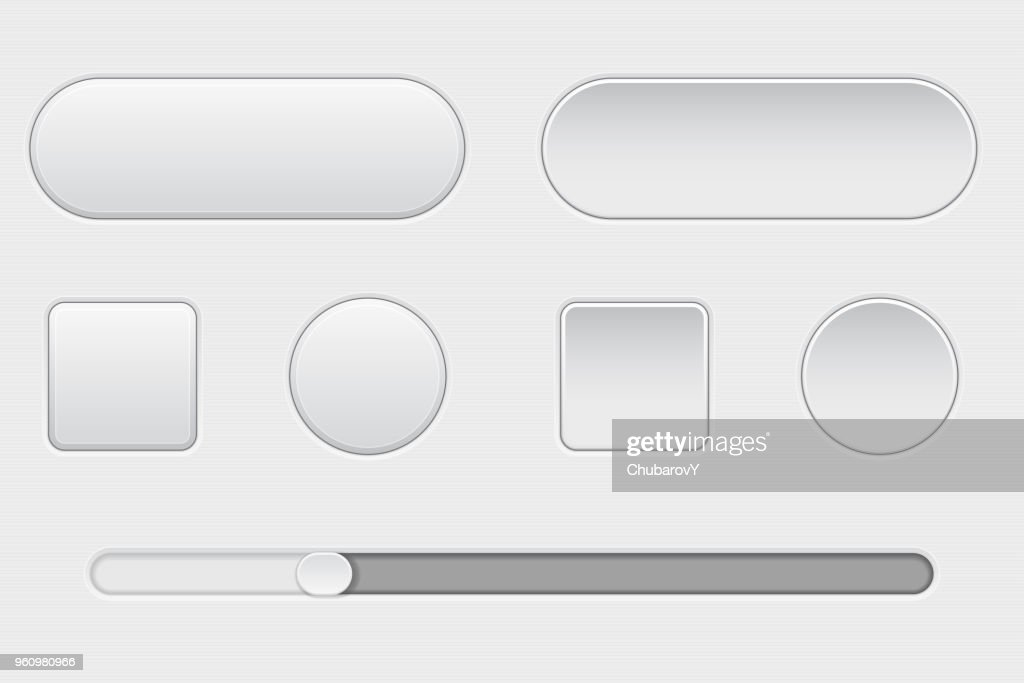Set of white plastic buttons. Normal and pushed. With slider bar. Web interface buttons