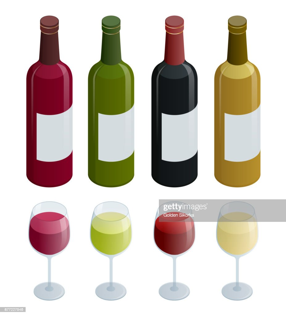 Set of white, rose, and red wine bottles and glas. Isometric vector illustration isolated on white background