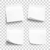 Set of white sheets of note paper isolated on transparent background. Four sticky notes. Vector illustration.