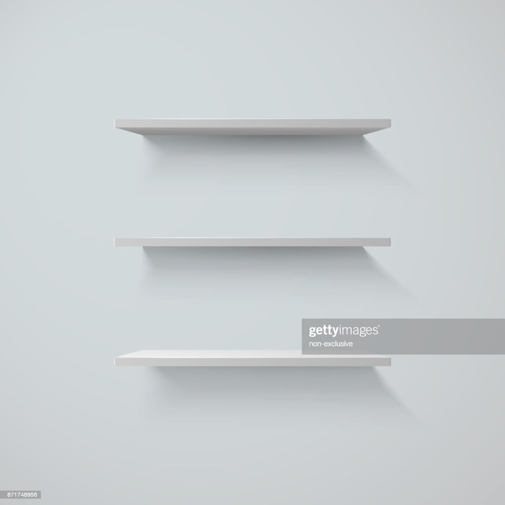 Set of white shelfs on a wall. vector illustration