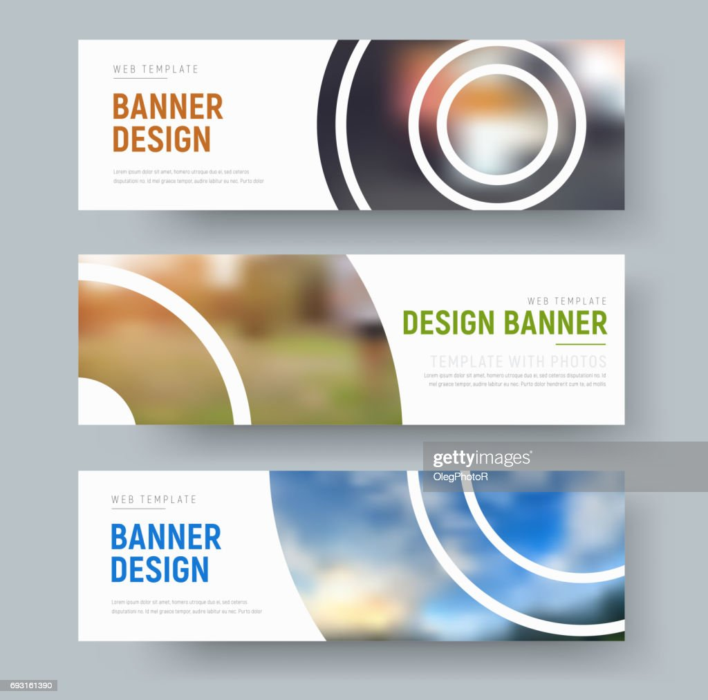 set of white standard banners with round design elements for the image.