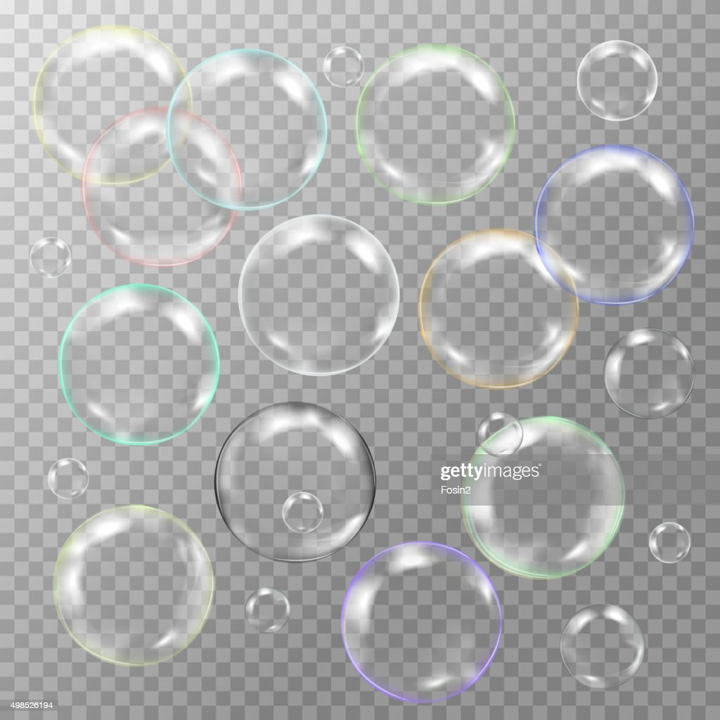 set of white transparent glass sphere with glares and highlights