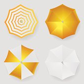 Set of white yellow striped blank classic opened round rain umbrella .Top View Mock up . Vector