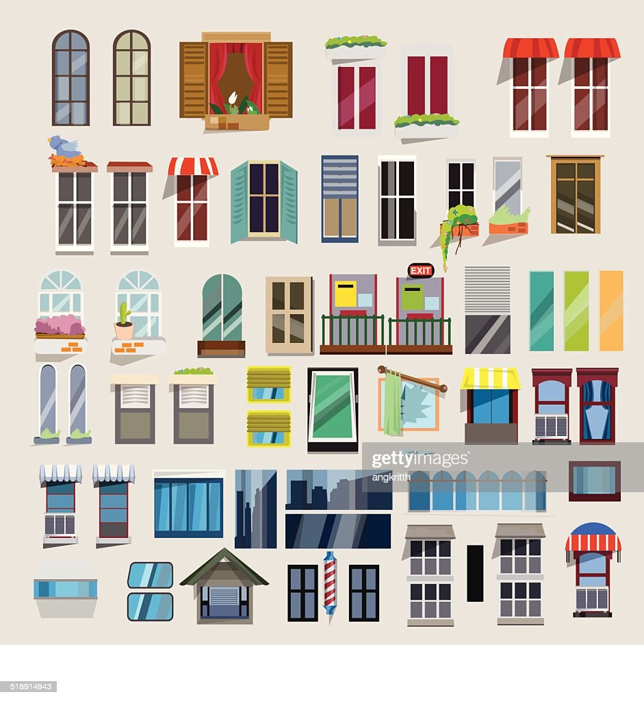 Set of windows - vector