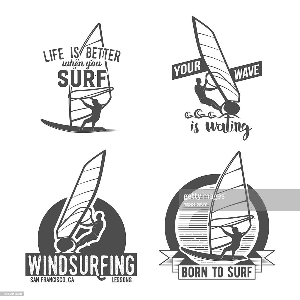 set of windsurfing badges and logos