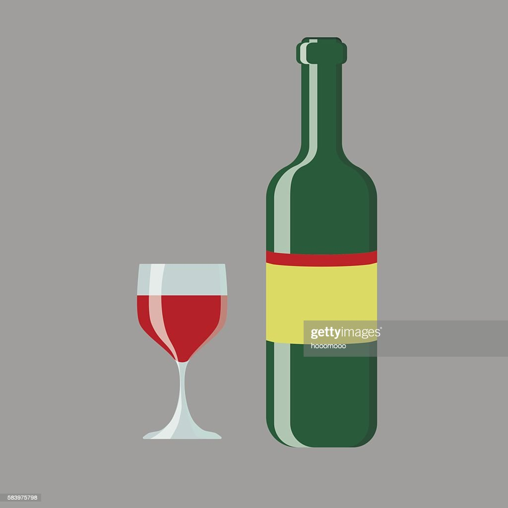 set of wine bottle and glass vector