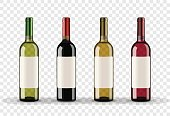 Set of wine bottles isolated on transparent background
