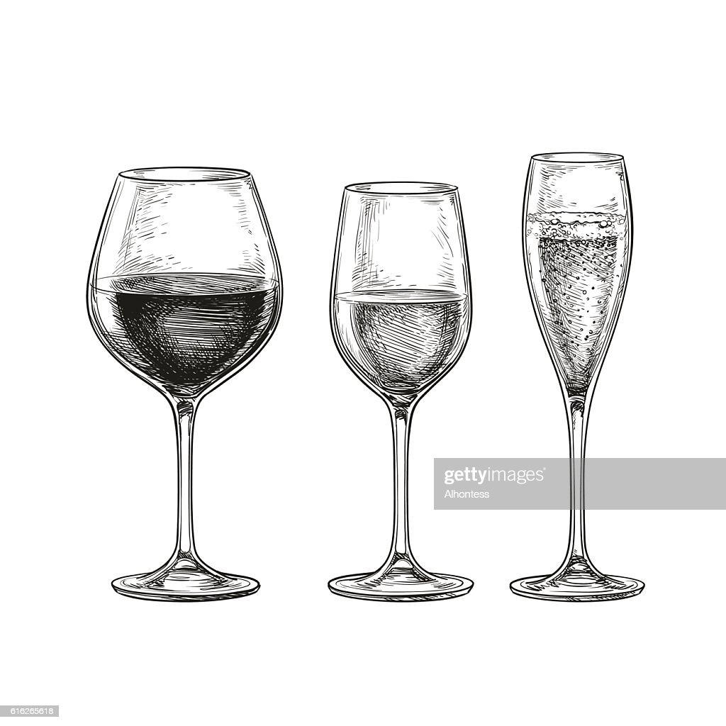 Set of wine glasses.