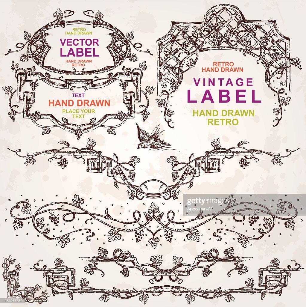 Set of Wine Hand Drawn Design Elements
