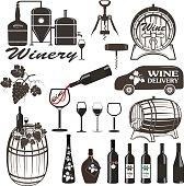 Set of wine signs, badges