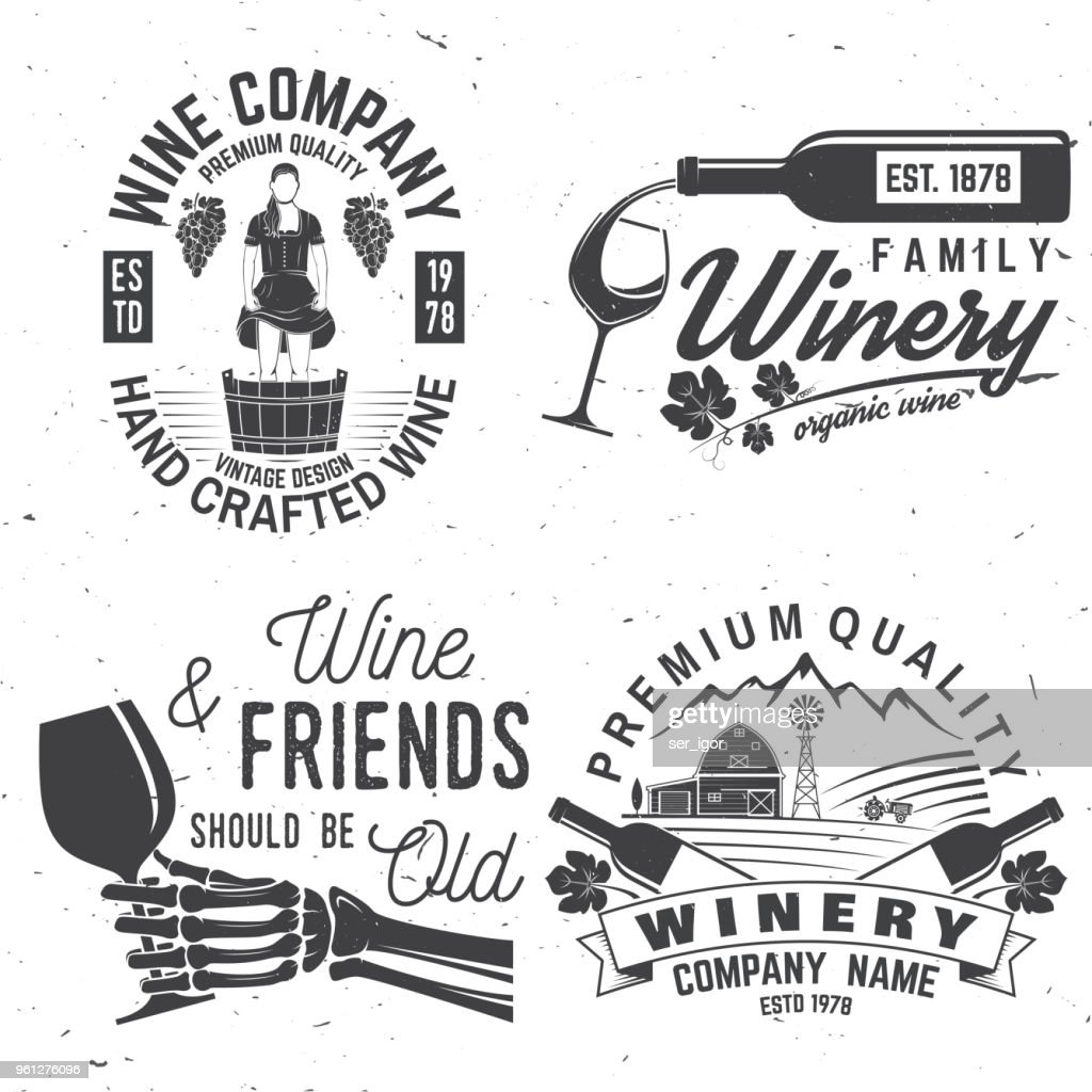 Set of winer company badge, sign or label. Vector illustration
