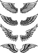 Set of wings illustration isolated on white background. Design elements for  label, emblem, sign.