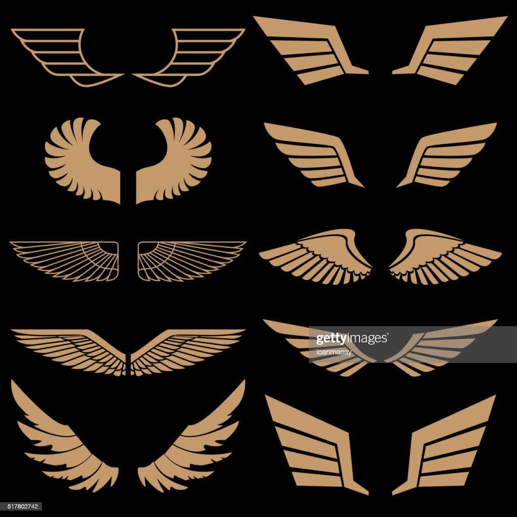Set of wings in vector. Gold style vector wings.