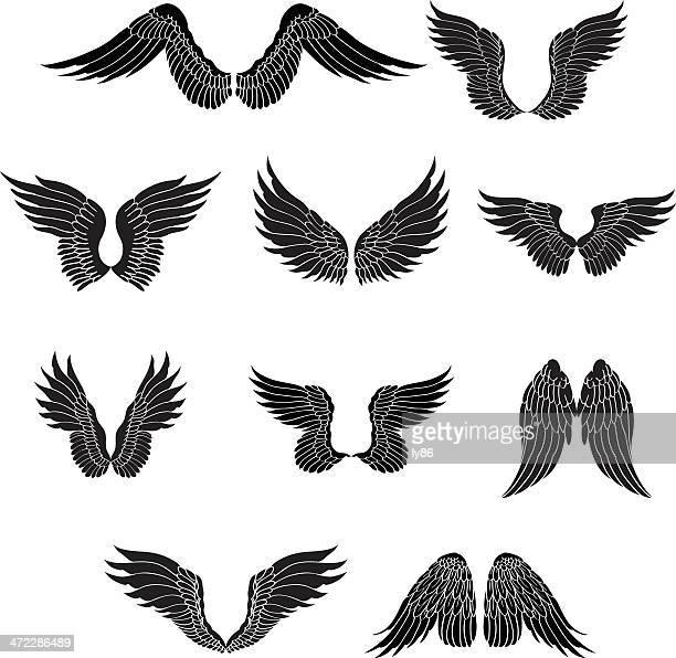 ilustraciones, imágenes clip art, dibujos animados e iconos de stock de juego de alas - alas de angel
