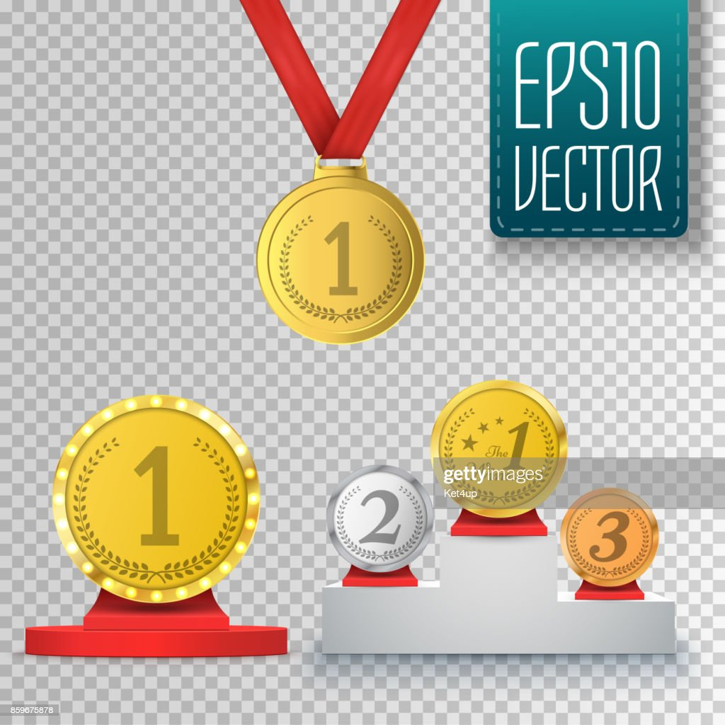 Set Of Winner Trophy Prize Template Medal And Podium Vector