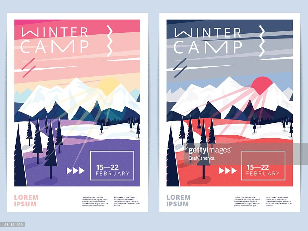 Set of winter hiking camp poster or flyer