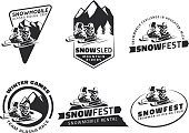 Set of winter snowmobile emblems, badges and icons.