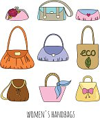 Set of woman handbags.