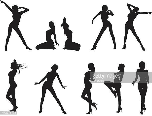 Set of woman silhouettes