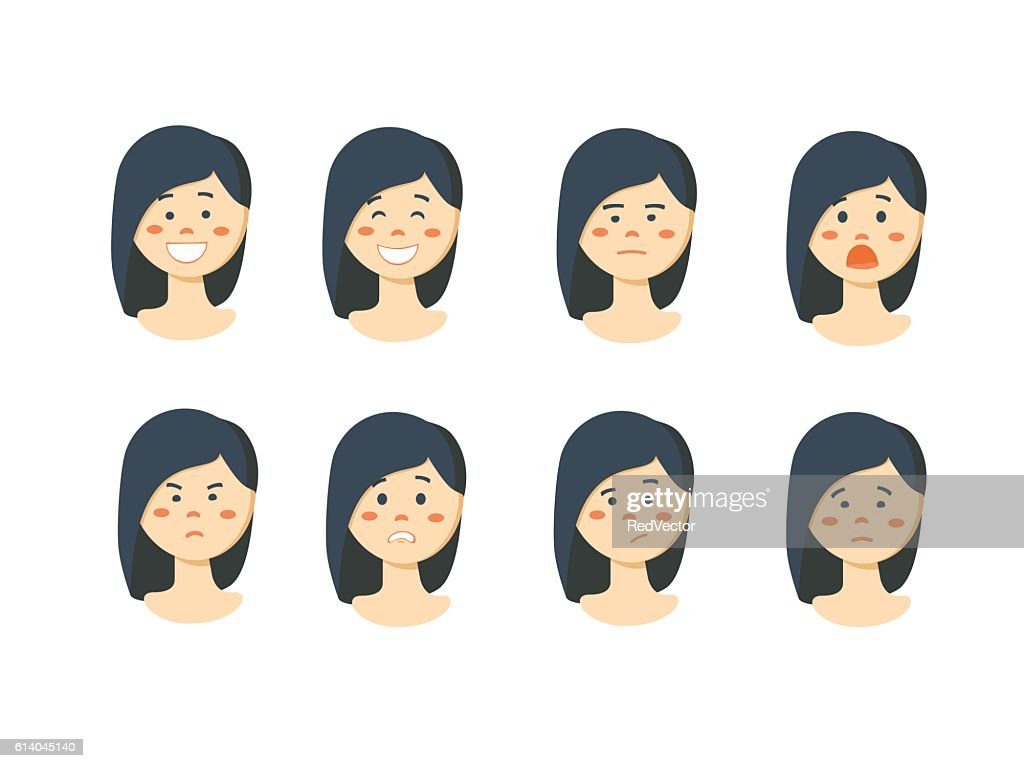 Set of woman's emotions. Facial expression.