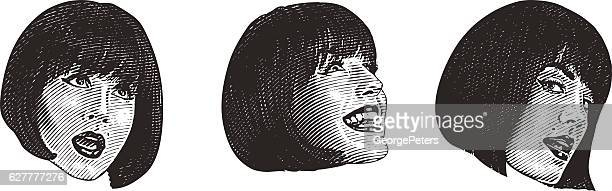 Set Of Woman's Face Making Funny Expressions