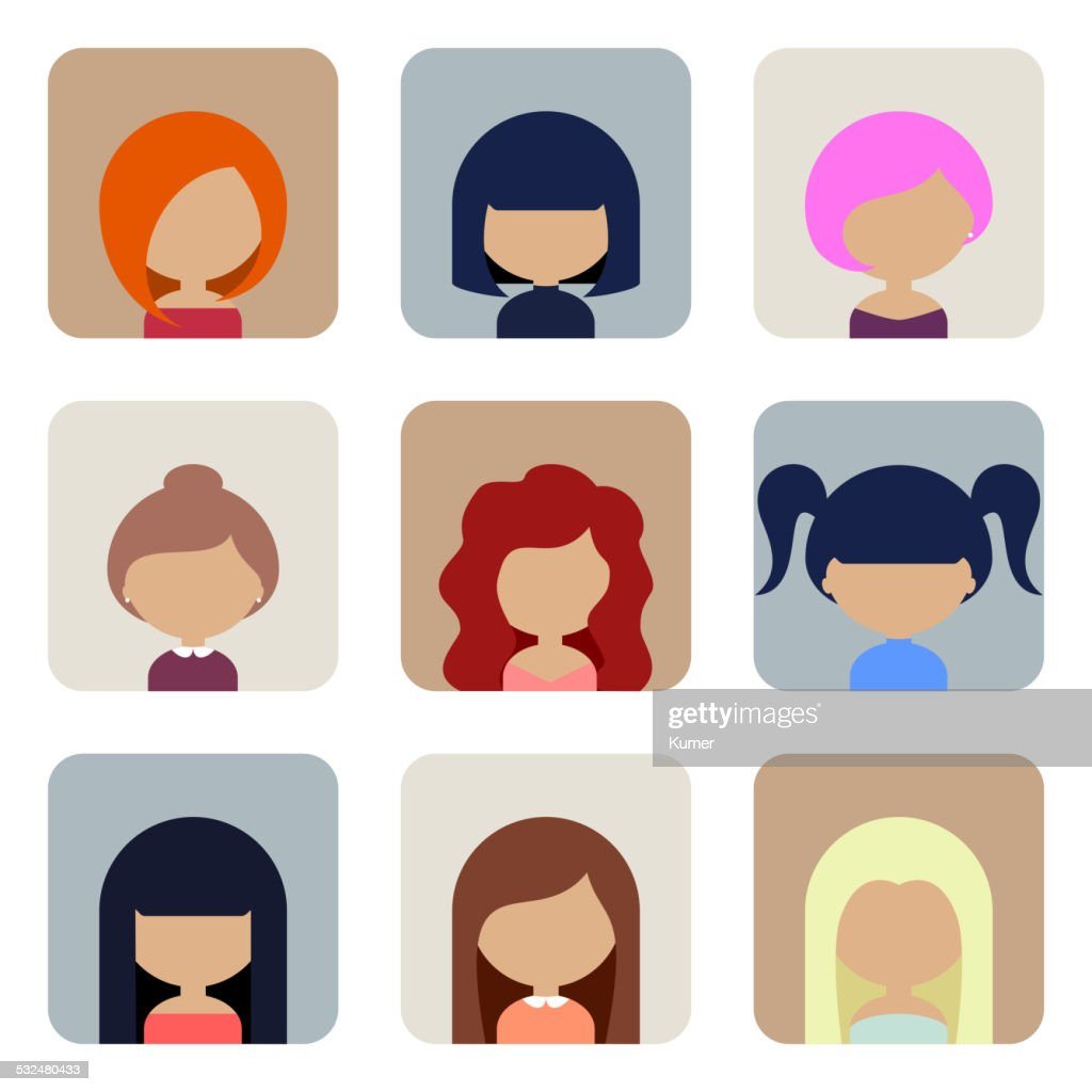 Set of Women Faces Icons in Flat Design