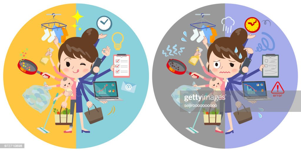 A set of women who perform multitasking in offices and private. There are things to do smoothly and a pattern that is in a panic. It's vector art so it's easy to edit.