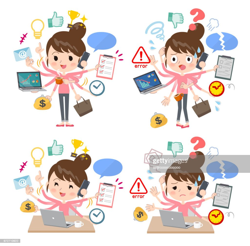 A set of women who perform multitasking in the office. There are things to do smoothly and a pattern that is in a panic. It's vector art so it's easy to edit.