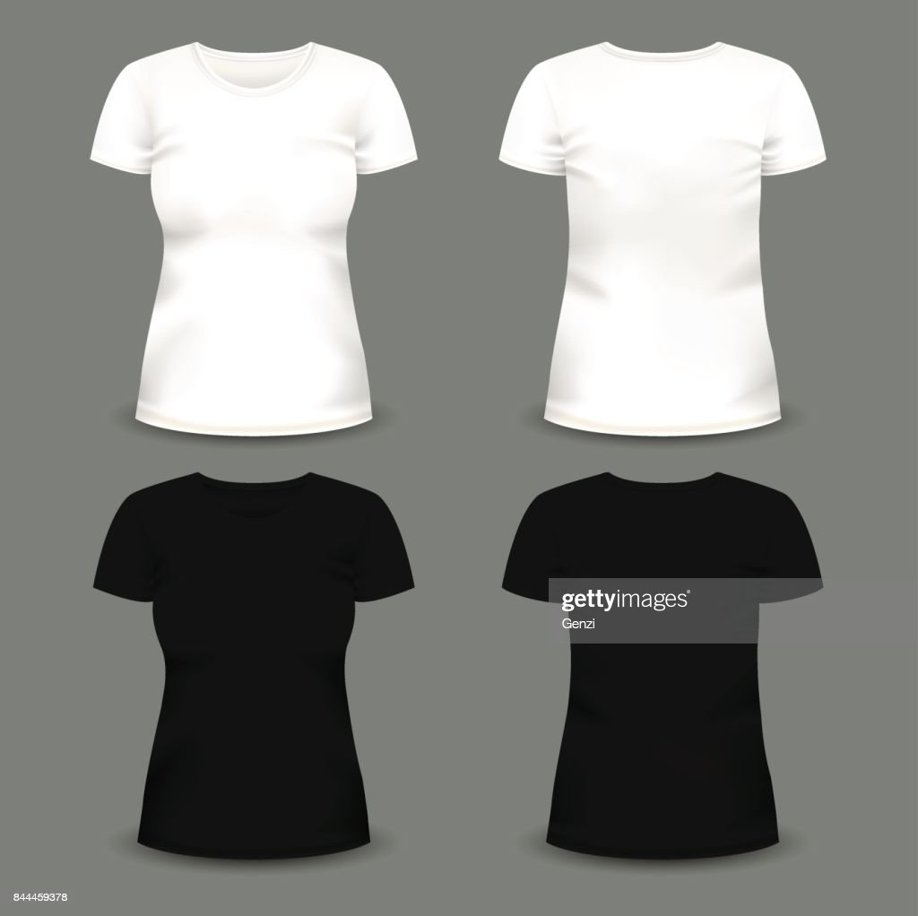 Set of women's white and black t-shirts in front and back views.