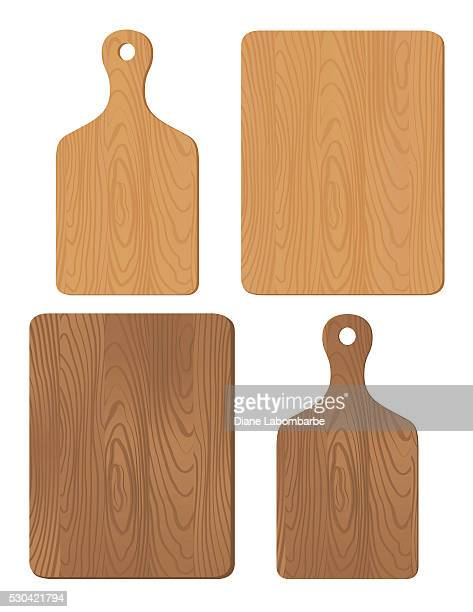 set of wood cutting boards - cutting board stock illustrations