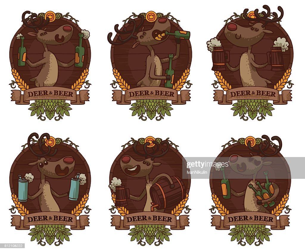 Set of wooden emblems with deers and beer