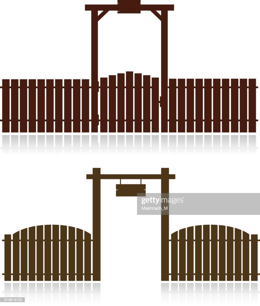 Set of wooden fences isolated on white