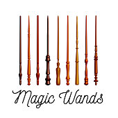 Set of wooden magic wands on white background. Vector