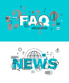 Set of word banners for faq and news web pages