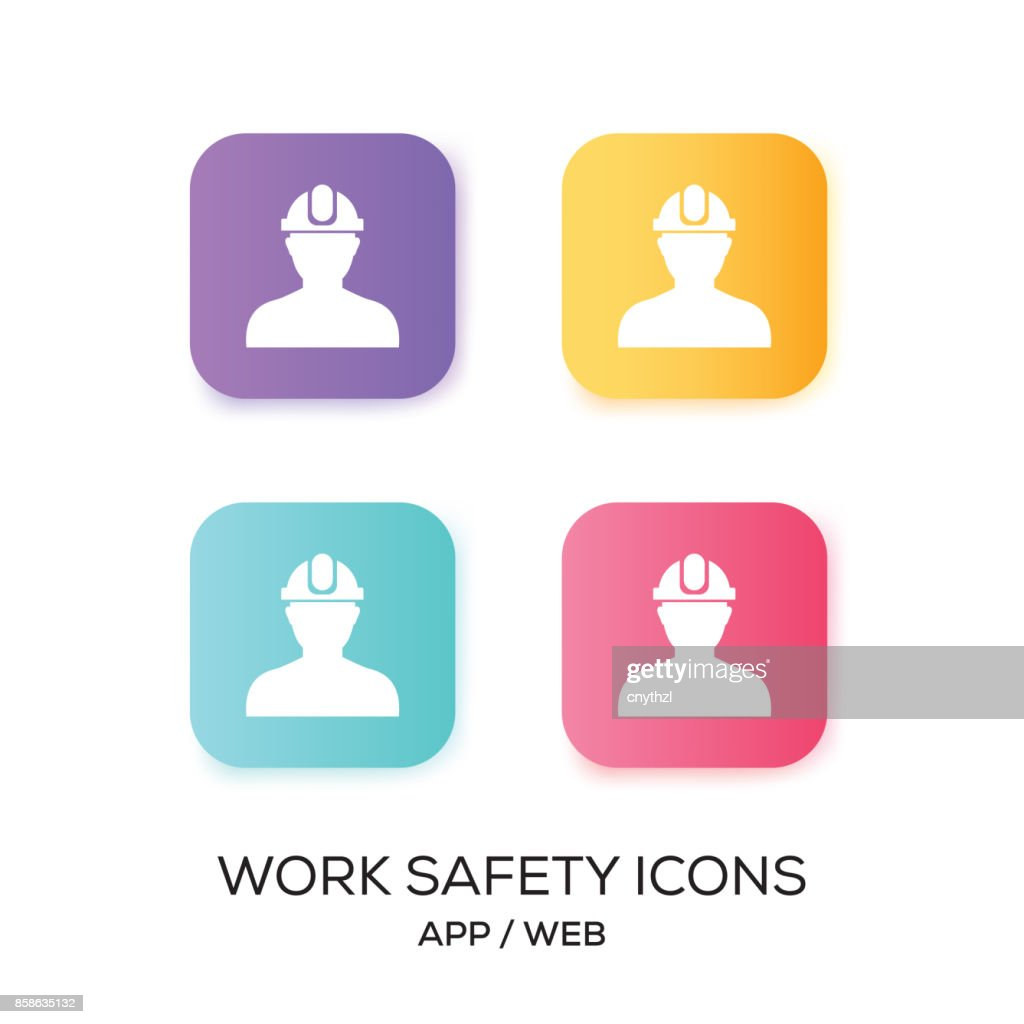Set of Work Safety App Icon : stock illustration