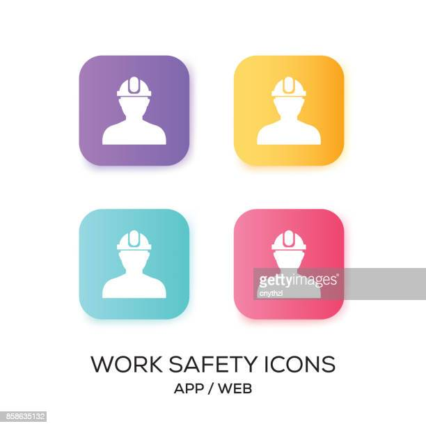 set of work safety app icon - occupational safety and health stock illustrations, clip art, cartoons, & icons
